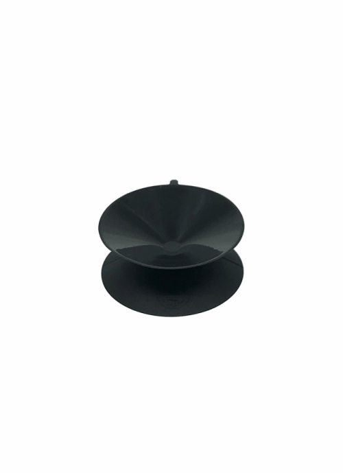 a matte black double sided suction cup.