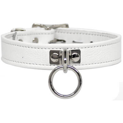 A white soft leather collar.
