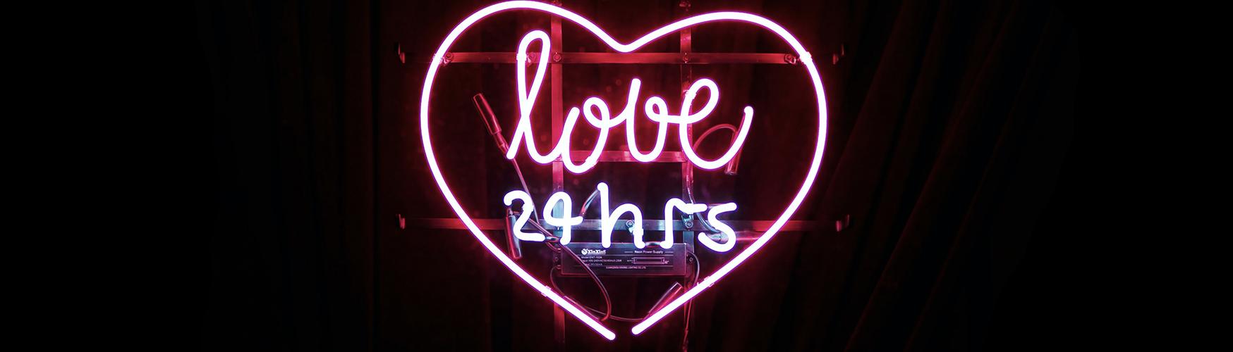 modern love 24 hrs neon sign