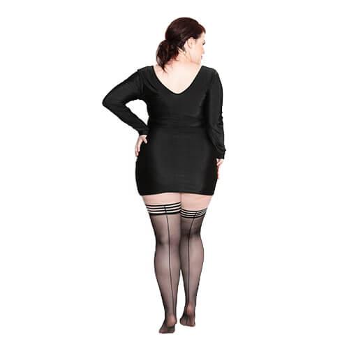 Lois Black Seam Thigh High