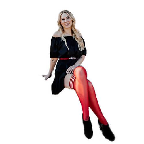 Monica Red Sheer Black Seam Thigh High