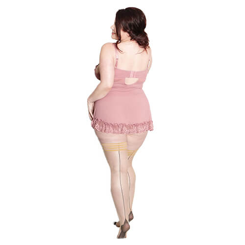 Ruby Sheer Black Seam Thigh High