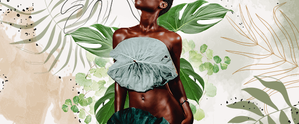 A black person stands with large green leaves covering their chest and pubic area. Behind them, more green leaves grow. The background is beige and white colors with green and brown leaf shaped illustrations around the edges.